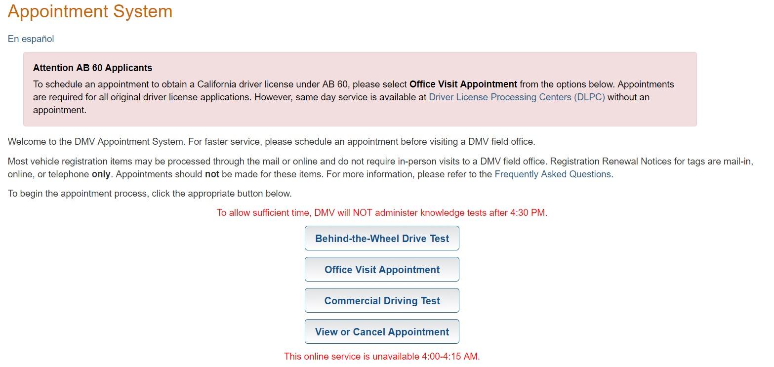 DMV Appointment, DMV Appointment CA, CA DMV Appointment