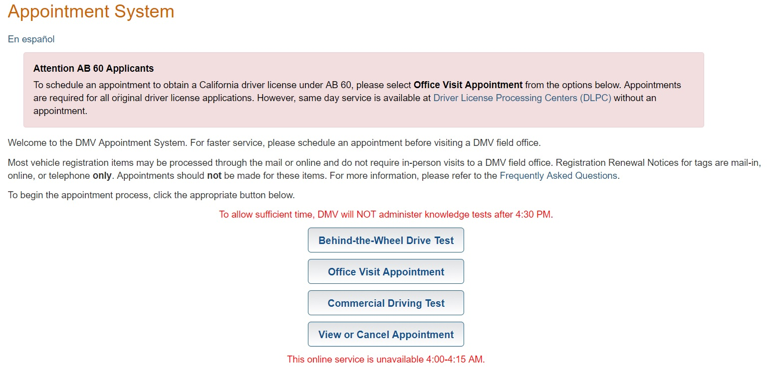 dmv drivers permit test appointment