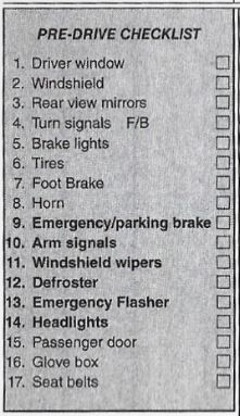 Driving Performance Evaluation Score Sheet - DMV California