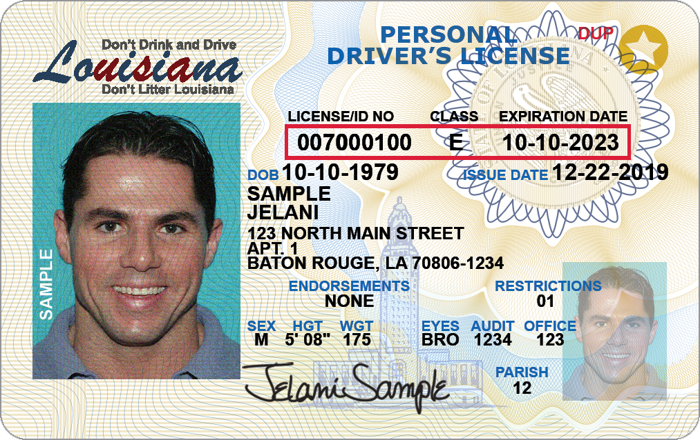 Louisiana state drivers licenses